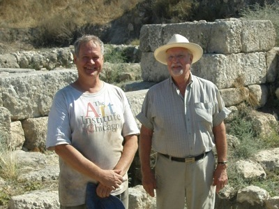 Dr William Dever and Daniel Pride at the Tel Gezer Solomonic Gate